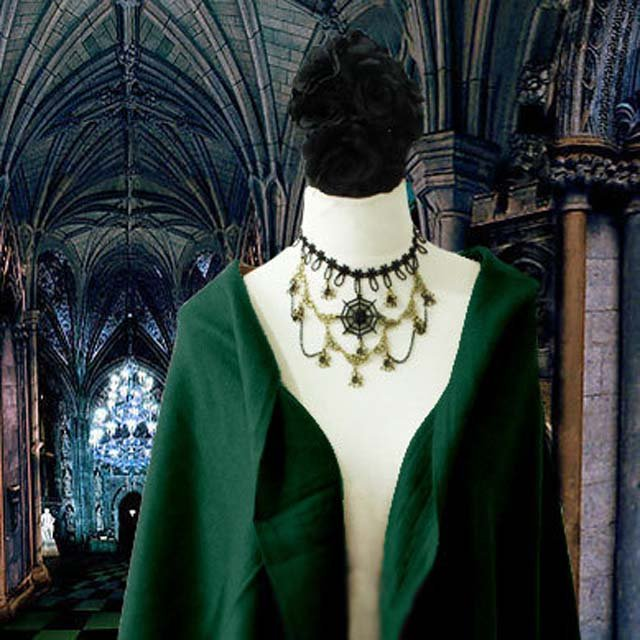 Gothic sexy Lolita Flower Bead Web spider Black dangle Choker necklace NR353