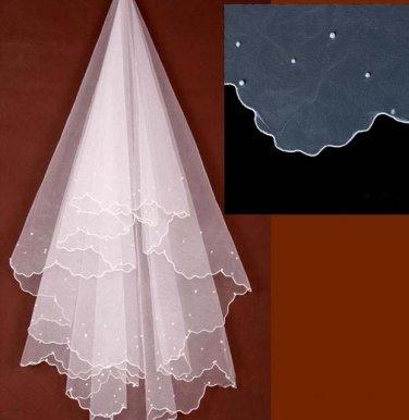 Bridal Cathedral Bead Wedding Ivory White Veil 1.4 m V05