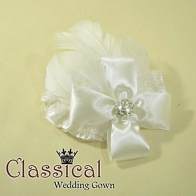 Bridal Feather ribbon Bow Hair Fascinator hair hat lace clip BA154