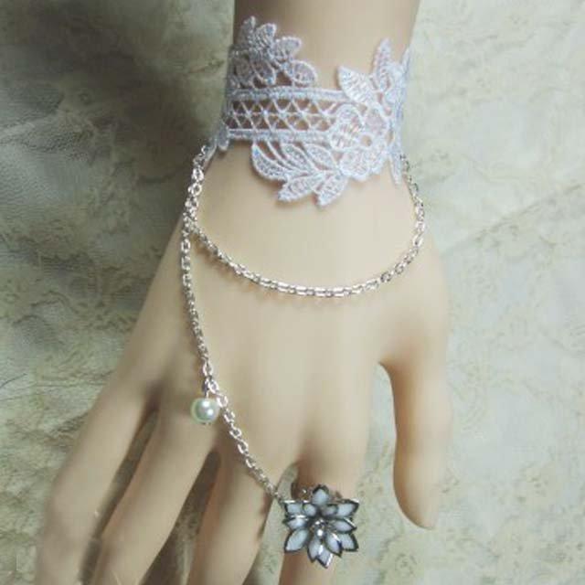 Sexy Belly dance Rhinestone flower White gothic slave Bracelet -thin hand BR269