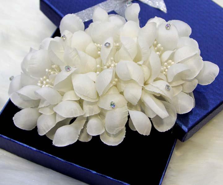 Bridal White topknot Headpiece Hair Flower Fascinator Crochet Bead clip BA176