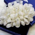 Bridal White topknot Headpiece Hair Flower Fascinator Crochet Bead clip BA176