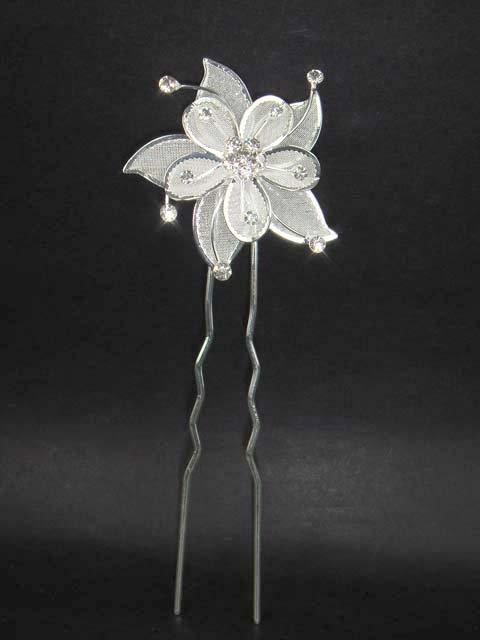 2 pcs Bridal Flower Rhinestone Hairpin Hair tiara Pin RP51