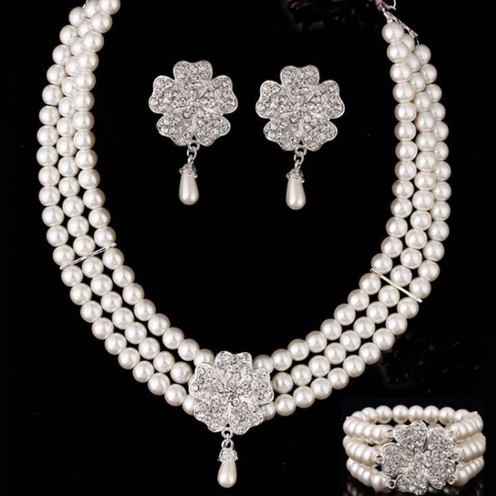 Bridal Rhinestone crystal Faux pearl Flower earring bracelet necklace set NR394