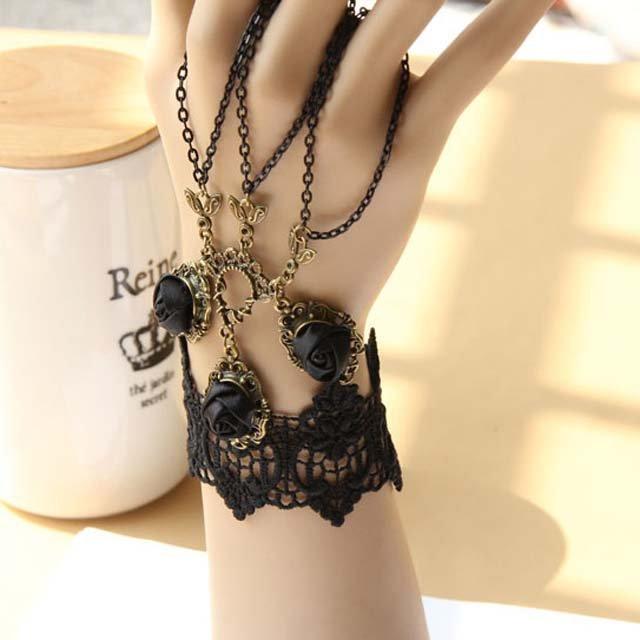Gothic Lolita Sexy Flower punk rock Rose black Belly dance slave bracelet BR312