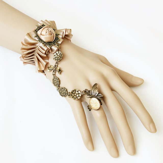 Gothic Lolita Sexy Flower Brown Copper Belly dance slave bracelet BR320