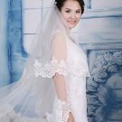 Bridal Cathedral bell flower Wedding Ivory White lace edge Veil 3m V07