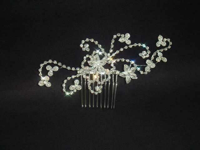 Bridal Adjust Flower Rhinestone Headpiece crystal Hair tiara Comb RB469