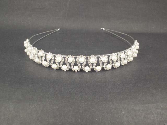 Bridal Flower Headpiece Faux pearl Crystal Rhinestone Headband Tiara HR187