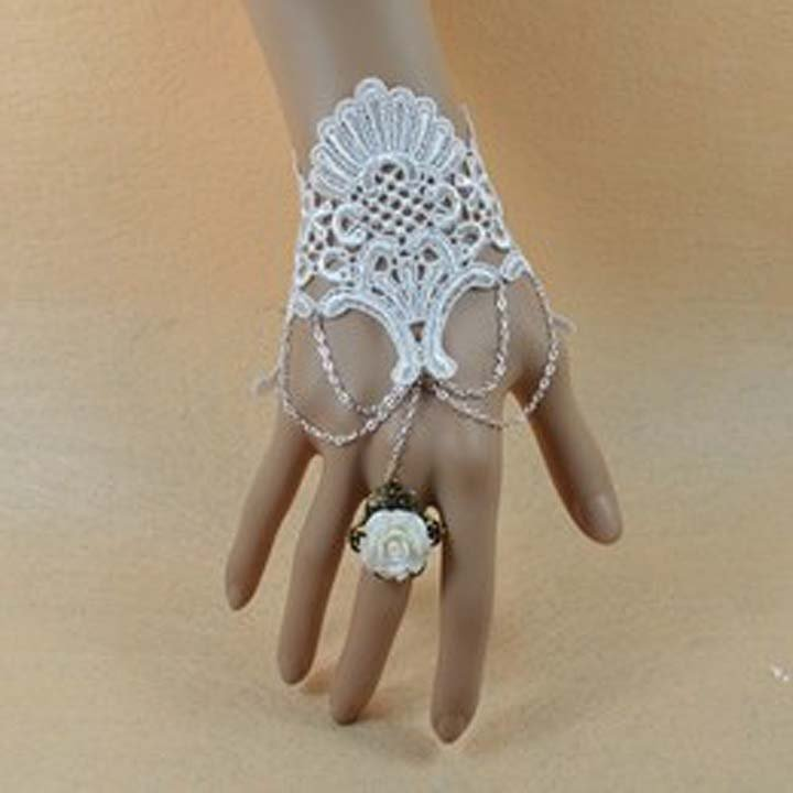 Gothic Lolita Sexy Flower lace  white Belly dance slave bracelet BR333