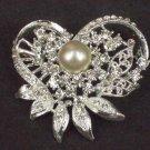 Bridal Cake topper heart Faux pearl crystal Rhinestone Brooch pin Pi576