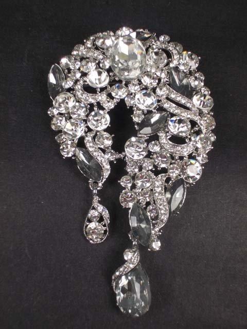 Bridal dress scarf decoration dangle vintage style Rhinestone Brooch pin Pi566