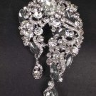 Bridal dress scarf decoration dangle vintage style Rhinestone Brooch pin Pi566