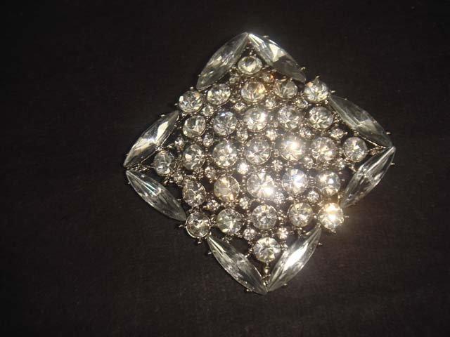 Bridal Square rhombus cake topper Crystal Rhinestone Brooch pin PI543
