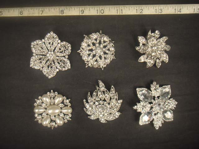 60 pcs Bridal Lot Crystal Rhinestone Vintage style Brooch Bouquet pin BB2