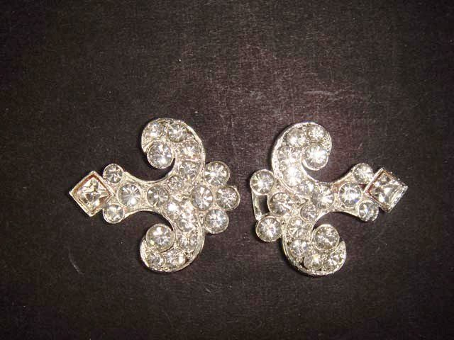 Bridal vintage Rhinestone clasp hook buckle button BU42