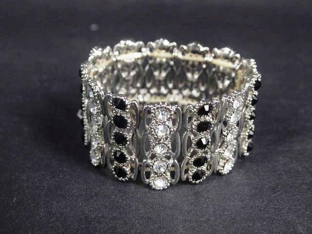5 row Bridal Black clear Crystal Rhinestone Bracelet cuff bangle BR253