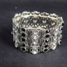 5 row Bridal Black clear Crystal Rhinestone Bracelet cuff bangle BR253