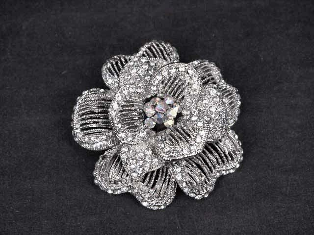 Bridal Cake topper decorating crystal Rose Flower Rhinestone Brooch pin PI571