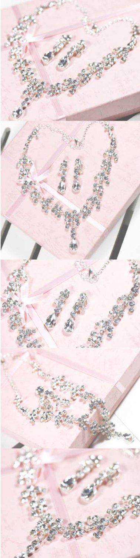 Bridal Rhinestone crystal Faux pearl topknot necklace earrring set NR346