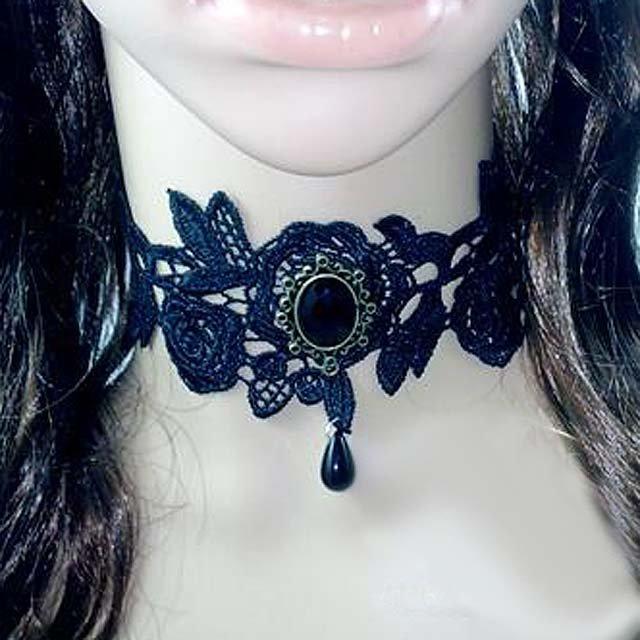 Gothic sexy Lolita Lace ribbon Black Flower bead Choker necklace NR301