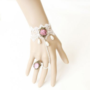 Gothic Lolita Sexy Flower lace Pink Rose white Belly dance slave bracelet BR323