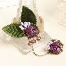 Sexy Belly dance Purple flower green leave country slave Bracelet BR330