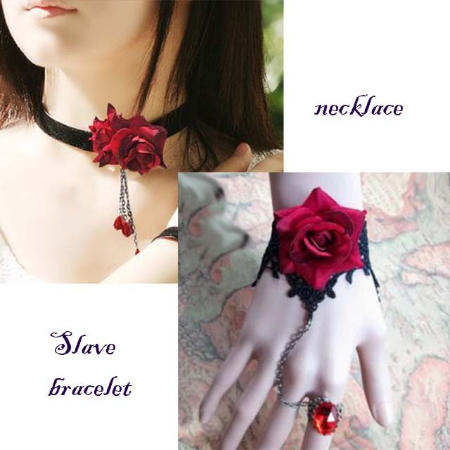 Gothic sexy Lolita Lace Red Flower Black Choker necklace bracelet set NR337