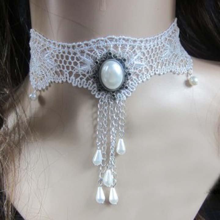 Bridal Gothic sexy Lolita Lace  Faux pearl dangle white Choker necklace NR330