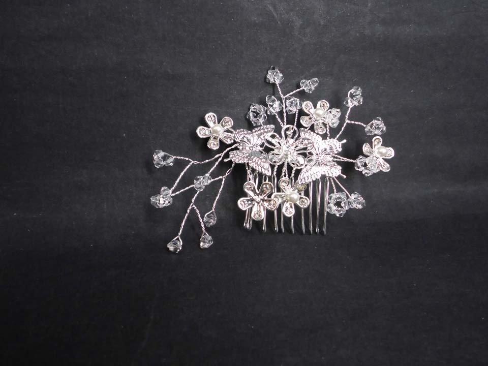 Bridal butterfly crystal rhinestone headpiece hair tiara topknot comb RB616