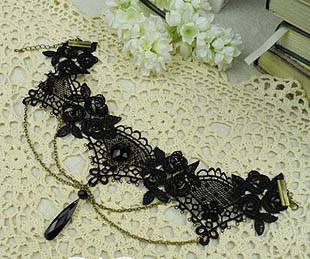Gothic sexy Lolita Lace Flower bead Black dangle Choker necklace NR286