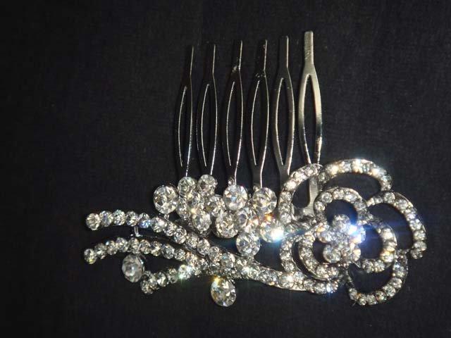 Bridal crystal Rhinestone flower Hair Headdress tiara Comb RB608