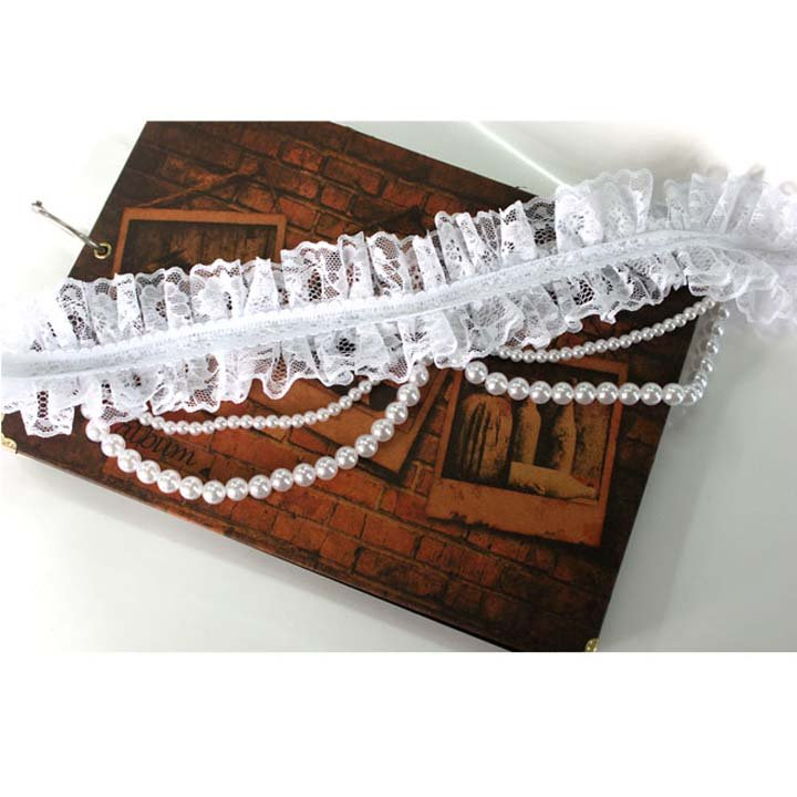 Gothic sexy Lolita Bridal Lace Faux pearl Prom Ribbon Hair tiara necklace NR332