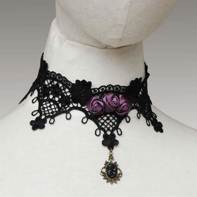Gothic sexy Lolita Lace Purple Flower Black Choker necklace earring set NR360