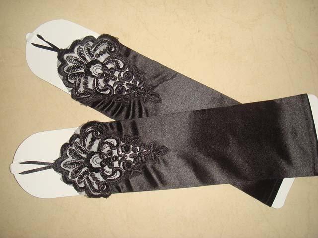 "14"" Bridal prom ivories red black Lace Satin Fingerless Gloves S14"