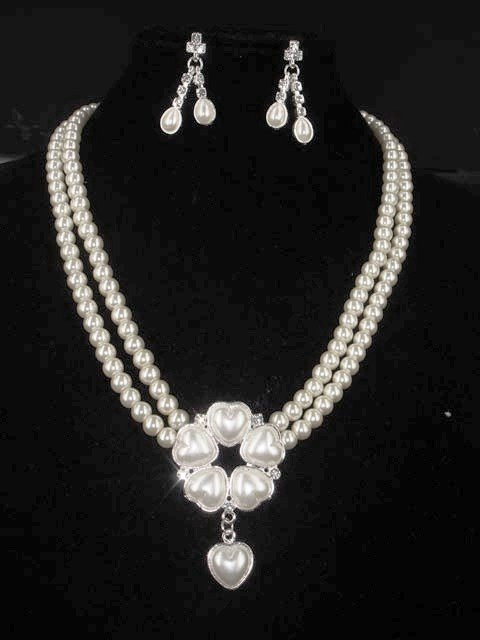 Bridal Faux Pearl Heart earring necklace set NR220