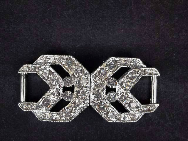 Vintage style Rhinestone crystal clasp dress buckle button BU63