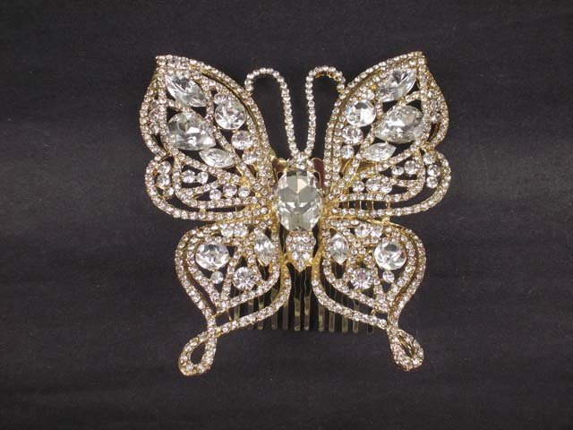 Bridal Rhinestone Heart Headpiece crystal Hair Tiara Comb RB573