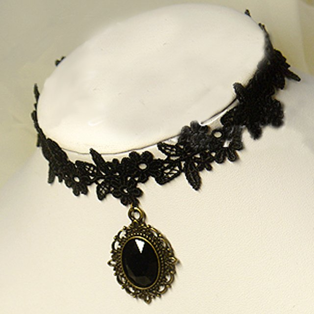 Gothic sexy Lolita Lace Flower Bead Black Choker necklace NR315
