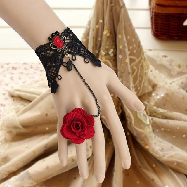 Sexy Belly dance Rhinestone Red flower Black Lace gothic slave Bracelet BR329