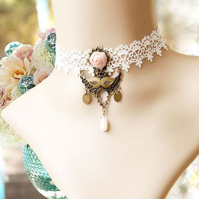 Gothic sexy Lolita Lace Pink Bead White Mask Choker necklace NR321