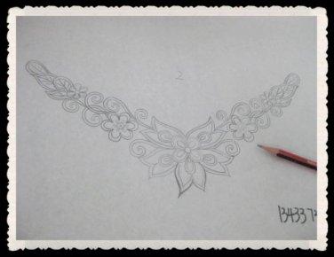 Gothic Lolita Lace Crochet Bead Flower dangle Black Choker necklace NR371