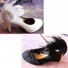 2 pcs Bridal Flower Rose Feather White Black Hair shoe decoration brooch BA171