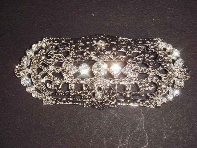 Bridal dress Vintage style crystal Rhinestone Brooch pin PI417