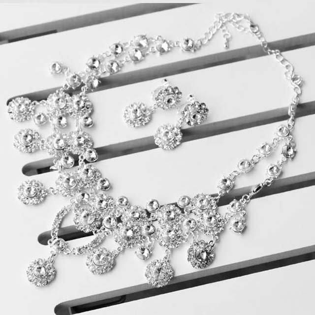 Bridal Rhinestone crystal dangle necklace earrring set NR390