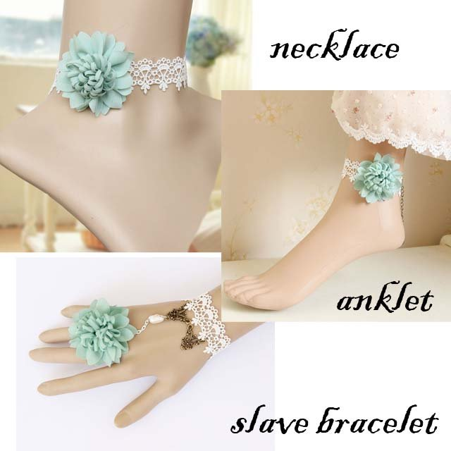 Gothic sexy Lolita green flower dangle white Choker necklace anklet set NR382