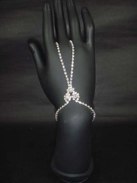Sexy Rhinestone belly dance cuff slave Bracelet with ring BR186