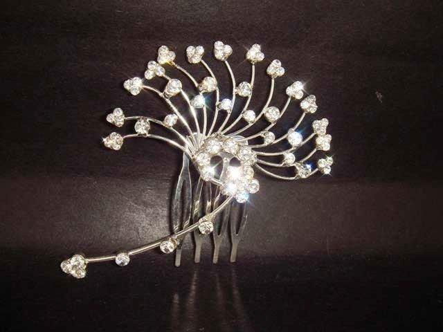 Bridal Leave Crystal Rhinestone Prom Hair Tiara Comb RB302
