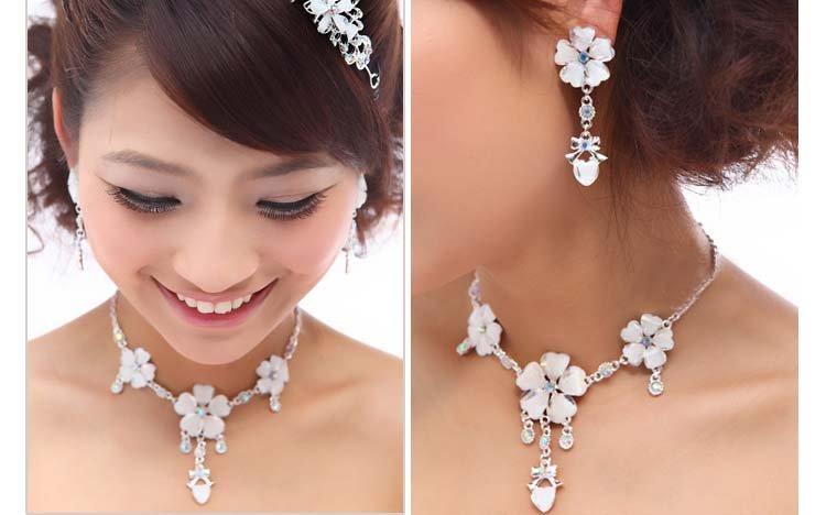 Bridal Rhinestone crystal flower heart bow earring choker necklace set NR364