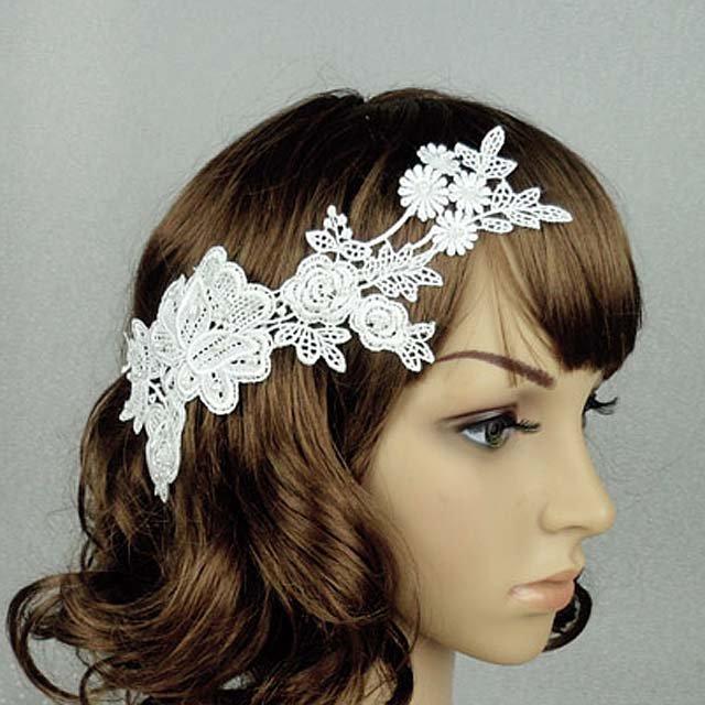 Bridal White topknot Headpiece Hair Flower Fascinator Crochet Bead clip BA167